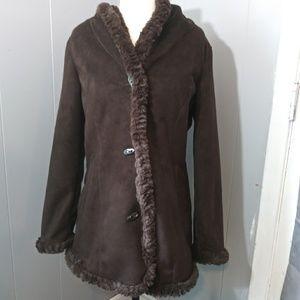 Host Pick Jones New York Brown Suede/Faux Fur Coat